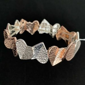 Gold and Silver Hearts Stretch Bracelet NEW